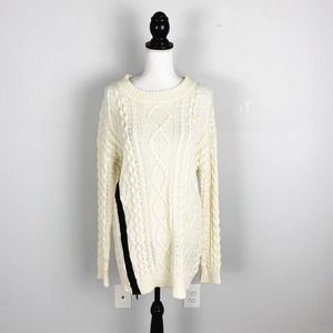 J.O.A. Cable Knit Side Zip Tunic Sweater